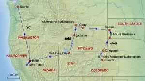 USA-Nordwesten-Rundreise-Landkarte